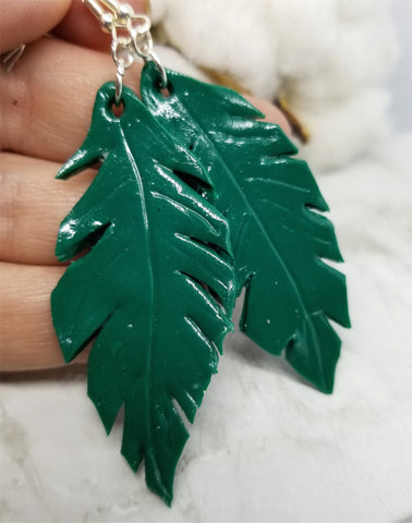 Dark Green Leaf Polymer Clay Earrings