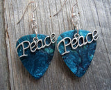 Peace Text Charm Guitar Pick Earrings - Pick Your Color
