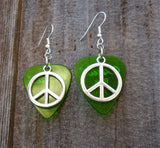 Peace Sign Charm Guitar Pick Earrings - Pick Your Color