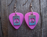 Peace Sign Cut Out Charm Guitar Pick Earrings - Pick Your Color