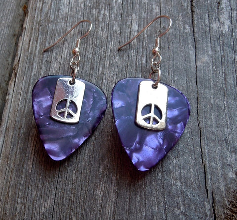 Small Peace Sign Cut Out Charm Guitar Pick Earrings - Pick Your Color