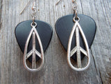 Tear Drop Shaped Peace Sign Charm Guitar Pick Earrings - Pick Your Color