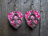 Large Heart Peace Sign Charm Guitar Pick Earrings - Pick Your Color