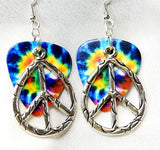 Large Oval Peace Sign Charm Guitar Pick Earrings - Pick Your Color