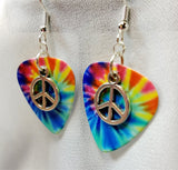 Small Peace Sign Charm Guitar Pick Earrings - Pick Your Color