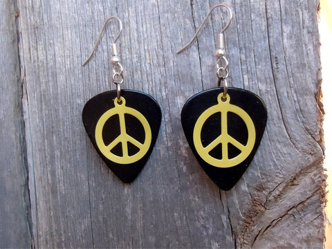 Yellow Peace Sign Charm Guitar Pick Earrings - Pick Your Color