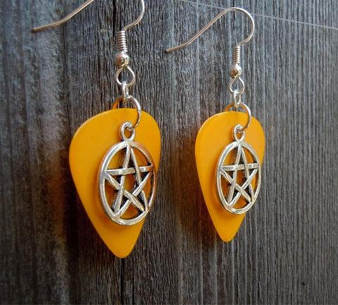 Pentagram Charm Guitar Pick Earrings - Pick Your Color