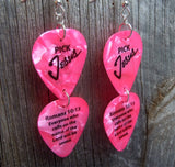 Pick Jesus Romans 10:13 Double Guitar Pick Earrings - Pick Your Color