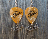 Pick Jesus Guitar Pick Earrings with Faith Charms - Pick Your Color