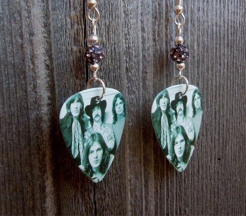 Pink Floyd Black and White Group Picture Guitar Pick Earrings with Grey Pave Beads