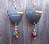 Pink Floyd Dark Side of the Moon Guitar Pick Earrings with MultiColor Pave Beads