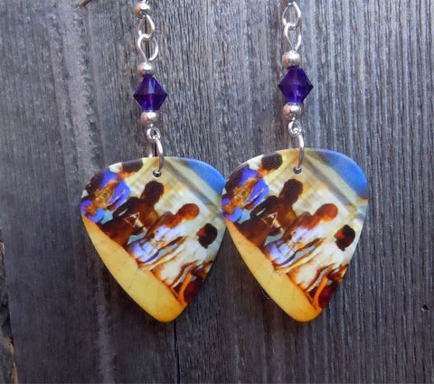 Pink Floyd Painted Women Poster Guitar Pick Earrings with Purple Swarovski Crystals