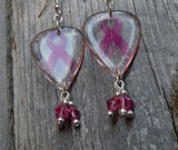 Transparent Pink Ribbon Guitar Pick Earrings with Pink Swarovski Crystal Dangles