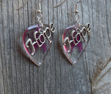 Transparent Pink Ribbon Guitar Pick Earrings with Hope Charm Overlay