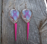 Pink Ribbon Transparent Guitar Pick Earrings with Pink Spike Dangles