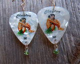 Brunette Hawaiian Pin Up Girl Guitar Pick Earrings with Peridot Green Crystal Charm Dangles