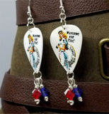 Coast Guard Pin Up Girl Guitar Pick Earrings with Swarovski Crystal Dangles