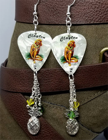 Blonde Hawaiian Pin Up Girl Guitar Pick Earrings with Pineapple Charms and Swarovski Crystal Dangles
