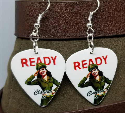 U.S. Army Classic Pin Up Girl Guitar Pick Earrings
