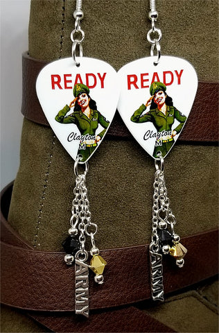 U.S. Army Classic Pin Up Girl with Silver Charm and Swarovski Crystal Dangles