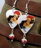 Brunette Pin Up Girl In Red and Black Lingerie Guitar Pick Earrings with Pave Bead Dangles