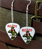 U.S. Army Pin Up Girl Dangling Guitar Pick Earrings