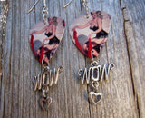 Classic Pin Up Women in Black Lingerie Guitar Pick Earrings with a Wow Charm Dangle