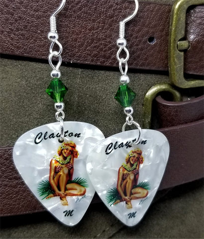 Blonde Hawaiian Pin Up Girl Guitar Pick Earrings with Green Swarovski Crystals