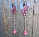 Pin Up Girl in Pink Dress Guitar Pick Earrings with Pink Pave Bead Dangles