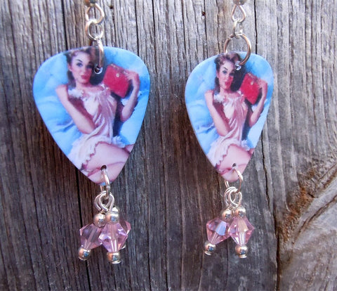 Pin Up Girl in Pink Babydoll Nightgown Guitar Pick Earrings with Pink Swarovski Crystal Dangles