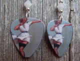 Flirty Pin Up Girl Guitar Pick Earrings with White Alabaster Swarovski Crystals