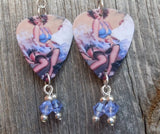 Beautiful Brunette in Garters and Stockings Guitar Pick Earrings with Violet Crystals