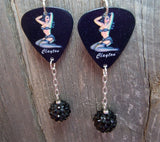 Pin Up Girl with Black Lingerie Guitar Pick Earrings with Black Rhinestone Dangles
