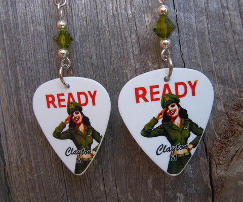 U.S. Army Pin Up Girl Guitar Pick Earrings with Swarovski Green Crystals