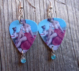 Pin Up Girl with Puppy Guitar Pick Earrings with Aqua Crystal Charm Dangle