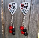 Red and Black Rocker Girl with Heart and Lightning Guitar Pick Earrings with Pave Dangles