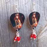 Devilish Pin Up Girl Guitar Pick Earrings with Red Crystal Dangles