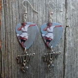 Classic Pin Up Women in White Dress Guitar Pick Earrings with a Wow Charm
