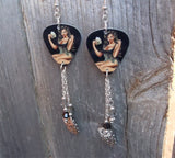 Card Playing Pin Up Girl Guitar Pick Earrings with Dangles