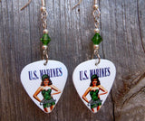 Marine Pin Up Girl Guitar Pick Earrings with Green Swarovski Crystals