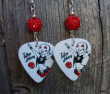 Red and Black Rocker Girl Guitar Pick Earrings with Red Pave Bead