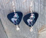 Pin Up Girl with a Fur Stole on Guitar Pick Earrings with a Crystal Charm