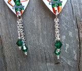 Marine Pin Up Girl Guitar Pick Earrings with Marine Charm and Green Swarovski Crystal Dangles