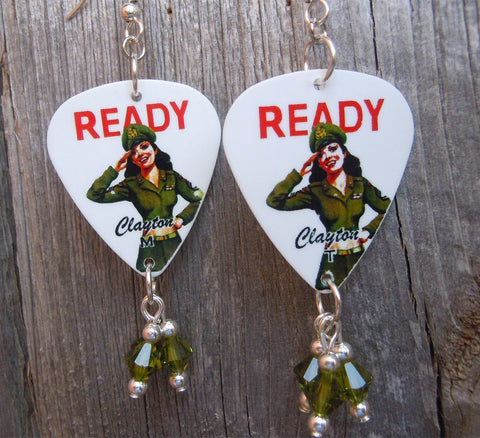 U.S. Army Classic Pin Up Girl with Green Swarovski Crystal Dangles