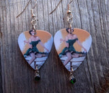 Pin Up Girl Playing Chess Guitar Pick Earrings with Crystal Charm Dangle