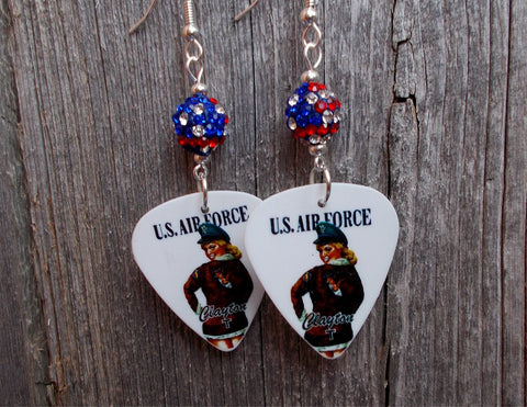 U.S. Air Force Pin Up Girl Guitar Pick Earrings with American Flag Pave Bead Dangles
