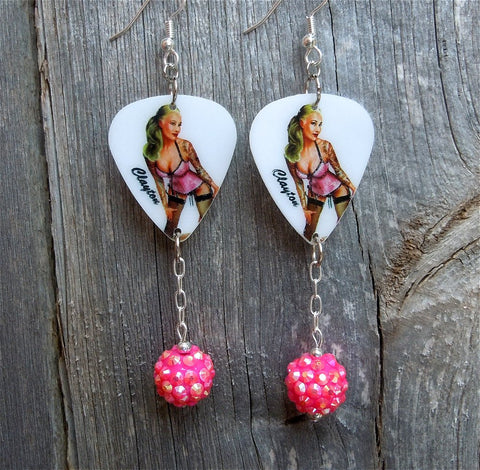 Blonde Pin Up Girl Guitar Pick Earrings with Pink Rhinestone Dangles