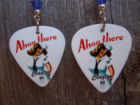 Navy Classic Pin Up Girl Guitar Pick Earrings with Blue Swarovski Crystals
