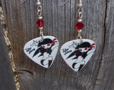 Rocker Girl in Red and Black Guitar Pick Earrings with Red Swarovski Crystals