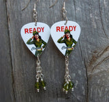 U.S. Army Pin Up Girl Guitar Pick Earrings with Green Swarovski Crystal Dangles